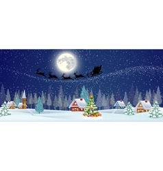 Background with christmas tree and night village vector