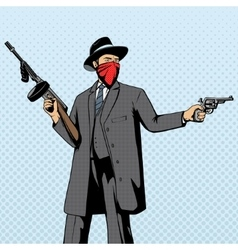 Gangster with gun robbery pop art vector