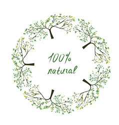 Frame or label with trees for natural eco products vector