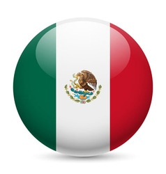 Round glossy icon of united mexican states vector