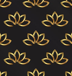 Golden Lotus plant pattern background Seamless vector image
