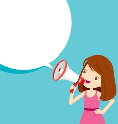 Girl with megaphone announcement vector
