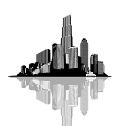 Black and white panorama of cityscape with place vector