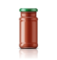 Glass jar with taco sauce vector