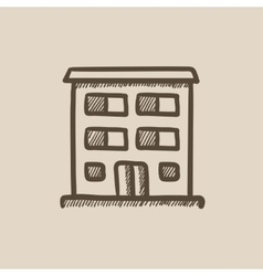 Residential building sketch icon vector image