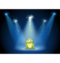 A smiling frog at the center of the stage vector image
