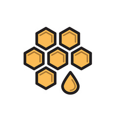 bee honey symbol honeycomb thin line icon vector image