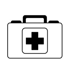 black icon medical bag cartoon vector image