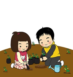 Boy and girl planting trees vector