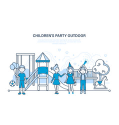 Children party outdoor on the playground vector