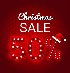 Christmas sale 50 percent discount retro sign vector