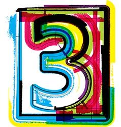 Colorful grunge font number 3 vector