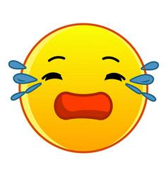 Crying yellow emoticon icon cartoon style vector