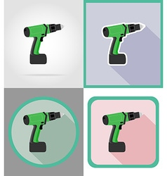 electric repair tools flat icons 07 vector image
