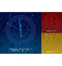 happy new years greeting card with clock and seaso vector image