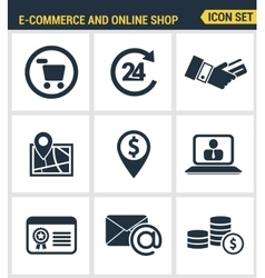 Icons set premium quality of e-commerce shopping vector
