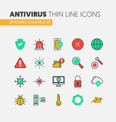 internet security linear thin icons set vector image