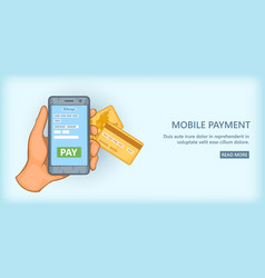 Mobile payment banner horizontal cartoon style vector