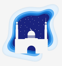 mosque paper stlyle with stars vector image