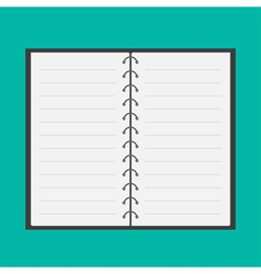 Open notepad with spiral and blank lined paper vector image