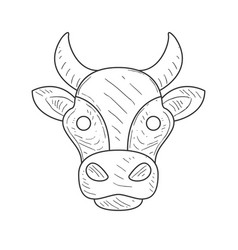 Pencil sketch with isolated cows head in black and vector