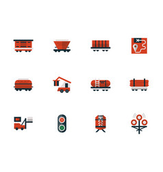 Railway flat design red icons vector