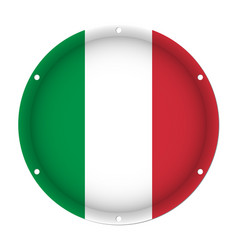 Round metallic flag of italy with screw holes vector