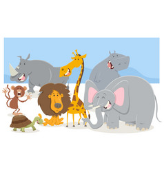 safari animal characters group vector image vector image