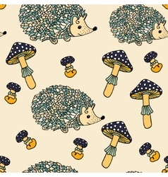 Seamless pattern with hedgehogs and mushrooms vector image vector image