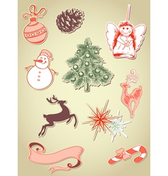 set of retro christmas elements vector image vector image