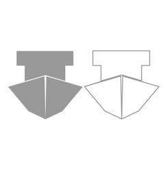 Ship grey set icon vector