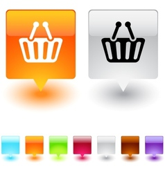 Shopping cart square button vector