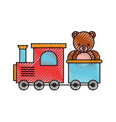 Train toy with bear teddy vector