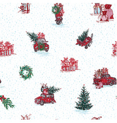 Vintage seamless merry christmas pattern in hand vector