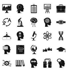 World knowledge icons set simple style vector