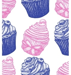 Hand drawn berry cupcake background vector