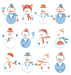 Snowmen collection vector