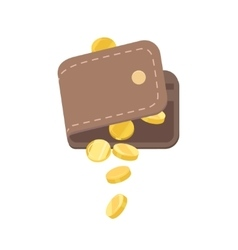 Wallet and gold coins vector