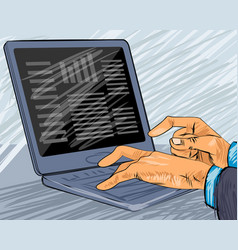 Businessman typing on laptop vector