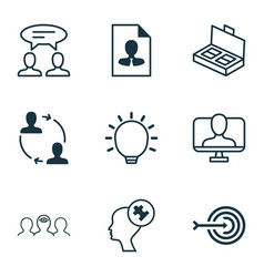 set of 9 business management icons includes great vector image