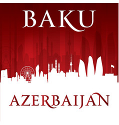Baku azerbaijan city skyline silhouette red vector