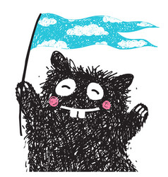 cheerful monster with flag greeting kids vector image