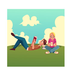 boy man reading book lying woman girl using vector image