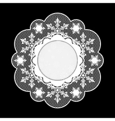 Christmas lace napkin frame for invitation or vector