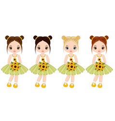 cute little girls with sunflowers vector image