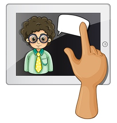 A finger touching the gadget with a curly-haired vector