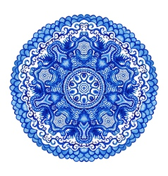 Watercolor gzhel doily round lace pattern circle vector
