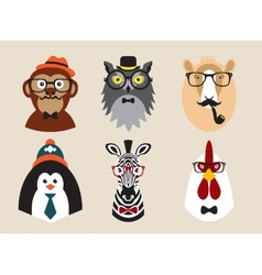 Cute fashion hipster animals pets set of vector