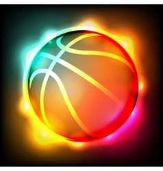 Glowing basketball vector