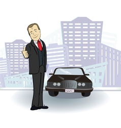 Businessman and car rich man in the city vector